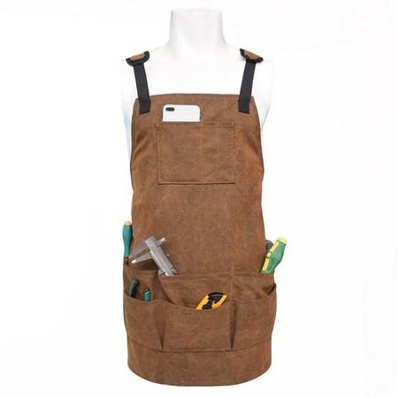 Brown Canvas Work Tool Apron