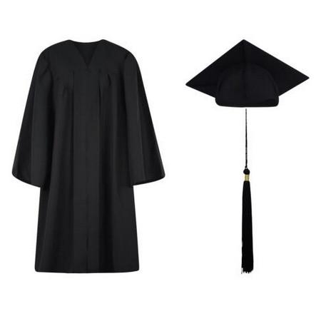 Matte Black College And University Graduation Cap, Gown & Tassel