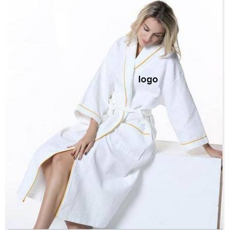 White Cotton Shawl Collar Robe