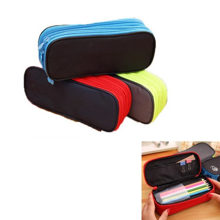 Zippered Large Pencil Case with 3 Sorted Layers