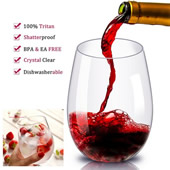 16 oz Unbreakable Stemless Wine Glass