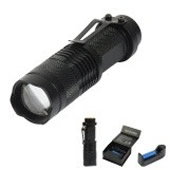 3 Piece Set Zoom Focus Tactical 14500 Rechargeable Led Flashlight