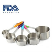 5 Pieces Stainless Steel Measuring Cups With Silicone Handles
