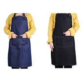 Bibbed Denim Apron with Pockets