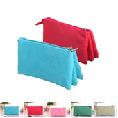 Canvas Zippered 3 Compartments Pencil Bag