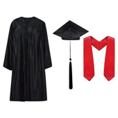 Cap Gown Tassel and Stole Set Shiny Finish