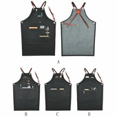 Denim Apron with Cross-back Leather Straps