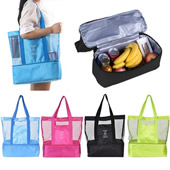 Double Layer Mesh Insulated Cooler/Beach Tote Bag