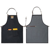 Durable Denim Apron with Adjustable Waist Ties & Leather Neck Strap