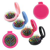 Folding Mirror Mini Pop Up Hairbrush