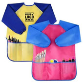 Kids Long Sleeve Aprons With 3 Pockets