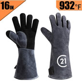 Leather Heat Resistant Welding Gloves Grill BBQ Glove