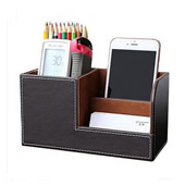 Multifunctional Business Office PU Leather Pen Holder
