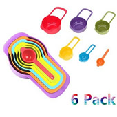 Pack of 6 Plastic Measuring Cup and Spoon