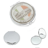Round Metal Full Color Cosmetic Pocket Mirror