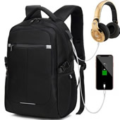 Waterproof Backpack with USB Charging Port/Headphone Jack