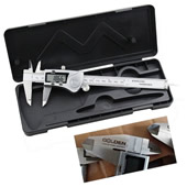 Waterproof Stainless Steel Digital Caliper in Plastic Toolbox
